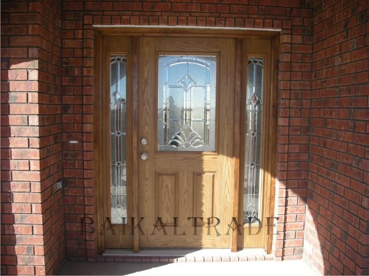 входная дверь в частный дом отделка деревом
